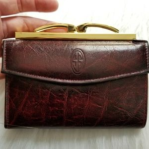 Vintage Di Lido wallet embossed oxblood leather
